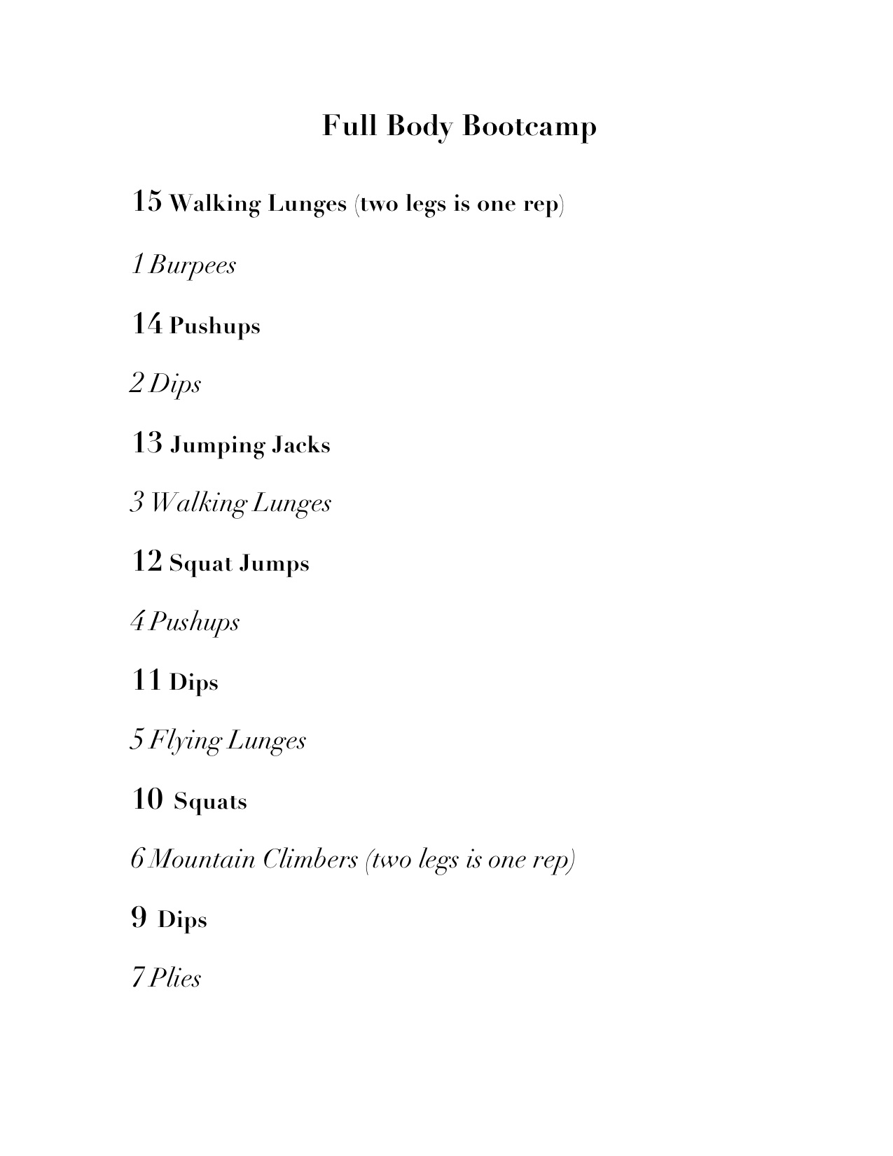 Full Body Bootcamp Printable Workout